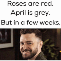 it's gonna be MAY (@peterdimov): Roses are red  April is grey  But in a few Weeks, it's gonna be MAY (@peterdimov)