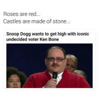 GIVE THE DOGG A BONE 😑: Roses are red  Castles are made of stone.  Snoop Dogg wants to get high with iconic  undecided voter Ken Bone GIVE THE DOGG A BONE 😑
