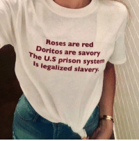 Prison, Red, and Doritos: Roses are red  Doritos are savory  le prison system  Is legalized slavery.