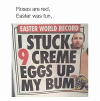 Dank, Easter, and Love: Roses are red  Easter was fun,  EASTER WORLD RECORD  EGGS UP I love poetry 😂