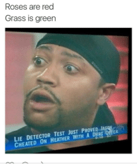 Blackpeopletwitter, Test, and Never: Roses are red  Grass is green  LIE DETECTOR TEST JUST PROVER  CHEATED ON HEATHER WITH A DRA  AS  EN <p>A truer poet, there hath never been (via /r/BlackPeopleTwitter)</p>