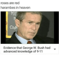 😂😂😂😂: roses are red  harambes in heaven  Evidence that George W. Bush had  advanced knowledge of 9-11 😂😂😂😂