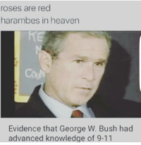🤘🤘🙌🙌: roses are red  harambes in heaven  Evidence that George W. Bush had  advanced knowledge of 9-11 🤘🤘🙌🙌