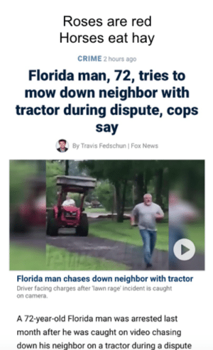 Crime, Florida Man, and Horses: Roses are red  Horses eat hay  CRIME 2 hours ago  Florida man, 72, tries to  mow down neighbor with  tractor during dispute, cops  say  By Travis Fedschun | Fox News  Florida man chases down neighbor with tractor  Driver facing charges after lawn rage incident is caught  on camera.  A 72-year-old Florida man was arrested last  month after he was caught on video chasing  down his neighbor on a tractor during a dispute How the tables have turned