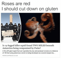 America, Facebook, and Friends: Roses are red  I should cut down on gluten  .02 12  Is 14-legged killer squid found TWO MILES beneath  Antarctica being weaponised by Putin?  A KILLER giant squid that can hypnotise its prey and paralyse humans at a distance  of 150 feet using poisonous venom is being developed as a secret weapon by...  WWW EXPRESS CO UK LIKE & TAG YOUR FRIENDS ------------------------- 🚨Partners🚨 😂@the_typical_liberal 🎙@too_savage_for_democrats 📣@the.conservative.patriot Follow: @rightwingsavages & Like us on Facebook: The Right-Wing Savages Follow my backup page @tomorrowsconservatives -------------------- conservative libertarian republican democrat gop liberals maga makeamericagreatagain trump liberal american donaldtrump presidenttrump american 3percent maga usa america draintheswamp patriots nationalism sorrynotsorry politics patriot patriotic ccw247 2a 2ndamendment