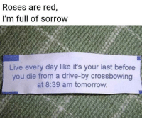 Drive By: Roses are red,  i'm full of sorrow  Live every day like it's your last before  you die from a drive-by crossbowing  at 8:39 am tomorrow