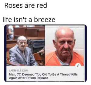 Excuse me sir, what the fuck: Roses are red  life isn't a breeze  LADBIBLE.COM  Man, 77, Deemed 'Too Old To Be A Threat' Kills  Again After Prison Release Excuse me sir, what the fuck