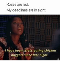 Chicken, Been, and Red: Roses are red  My deadlines are in sight,  I have been stress-eating chicken  nuggets since last night.
