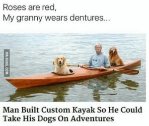 So, people like rhyme: Roses are red  My granny wears dentures...  Man Built Custom Kayak So He Could  Take His Dogs On Adventures So, people like rhyme