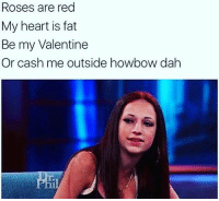 Memes, Fat, and 🤖: Roses are red  My heart is fat  Be my Valentine  Or cash me outside howbow dah Merica