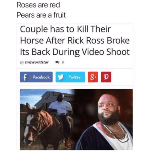Facebook, Rick Ross, and Shit: Roses are red  Pears are a fruit  Couple has to Kill Their  Horse After Rick Ross Broke  Its Back During Video Shoot  By tmzworldstar0  Facebook  Twitter Holy Shit
