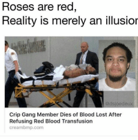 What y'all doing rn? I'm playing Uncharted 4 multiplayer: Roses are red  Reality is merely an illusior  @dsjoedeux  Crip Gang Member Dies of Blood Lost After  Refusing Red Blood Transfusion  cream bmp.com What y'all doing rn? I'm playing Uncharted 4 multiplayer