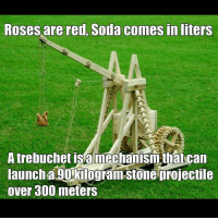 trebuchet: Roses are red, Soda comes in liters  A trebuchet a mechanism that can  launch aLU Kilogram-stone projectile  over 300 meters