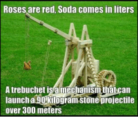 trebuchet: Roses are red, Soda comes inliters  A trebuchet is a mechanism that can  launch a 90 kilogram Stone projectile  over 300 meters