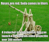 trebuchet: Roses are red, Soda comesin liters  A trebuchet is a mechanism that can  launcha.90 kilogram Stone projectile  over 300 meters
