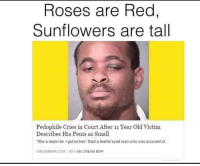 "Sunflowering: Roses are Red,  Sunflowers are tall  Pedophile Cries in Court After 11 Year Old Victim  Describes His Penis as Small  ""She a damn lie. I gotinches Said a tearful eyed man who was accused of..  CREAM COM BY IAM CREAM BMP"