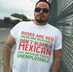 Neta!: ROSES ARE RED  TACOS ARE ENJOYABLE  DON'T BLAME A  MEXICAN  JUST BECAUSE YOU'RE  UNEMPLOYABLE Neta!