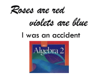 Me irl: Roses are red  violets are blue  I was an accident  Algebra 2 Me irl