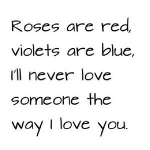 Love, I Love You, and Blue: Roses are red  violets are blue  I'll never love  someone the  way I love you. https://iglovequotes.net/