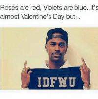 Funny, Valentine's Day, and Blue: Roses are red, Violets are blue. It's  almost Valentine's Day but...  IDFNU Just got rid of some dead weight 😂😂 tag someone who's single for v-day this year?