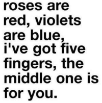roses are  red, violets  are blue,  i've got five  fingers, the  middle one is  for you. 🖕🖕