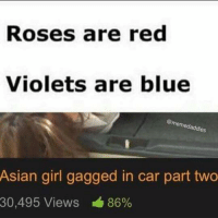 Sounds good: Roses are red  Violets are blue  @memedaddies  Asian girl gagged in car part two  30,495 Views 86% Sounds good