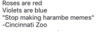 """Roses Are Red Harambe: Roses are red  Violets are blue  """"Stop making harambe memes""""  Cincinnati Zoo"""