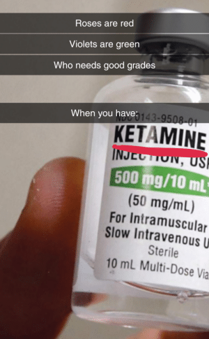 Drugs, Reddit, and Good: Roses are red  Violets are green  Who needs good grades  When you have143-9508-01  KETAMINE  INJECTION, US  P  500 mg/10 mL  (50 mg/mL)  For Intramuscular  Slow Intravenous U  Sterile  10 mL Multi-Dose Via. But really, winners don't do drugs