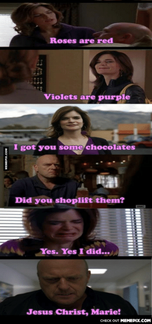 Valentine's Day storyomg-humor.tumblr.com: Roses are red  Violets are purple  I got you some chocolates  Did you shoplift them?  Yes. Yes I did...  Jesus Christ, Marie!  CHECK OUT MEMEPIX.COM  MEMEPIX.COM Valentine's Day storyomg-humor.tumblr.com