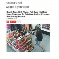 Beautiful, Butt, and Drunk: roses are red  we get it you vape  Drunk Teen With Flower Pot Over His Head  Uses Chainsaw To Rob Gas Station, Exposes  Butt During Escape  RYAN PERRY 82 11  1LIKE  5290  12 Today in my lecture, the speaker was saying how small things can be beautiful but not sublime and he associated sublime with power, chaos, and destruction...??? Small and beautiful things can be awe inspiring and thought provoking??? If it takes destruction of civilization to get you to think about life then that's a you problem get your negativity out of here.