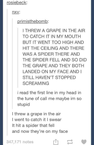 Was the grape okay?omg-humor.tumblr.com: rosiebeck:  nxv:  primisthebomb:  I THREW A GRAPE IN THE AIR  TO CATCH IT IN MY MOUTH  BUT IT WENT TOO HIGH AND  HIT THE CEILING AND THERE  WAS A SPIDER THERE AND  THE SPIDER FELL AND SO DID  THE GRAPE AND THEY BOTH  LANDED ON MY FACE AND I  STILL HAVEN'T STOPPED  SCREAMING  i read the first line in my head in  the tune of call me maybe im so  stupid  I threw a grape in the air  I went to catch it I swear  It hit a spider that fell  and now they're on my face  347,171 notes Was the grape okay?omg-humor.tumblr.com
