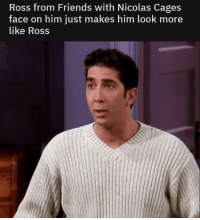 Friends, MeIRL, and Ross: Ross from Friends with Nicolas Cages  face on him just makes him look more  like Ross meirl