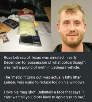 "Best smug face Ive ever seen: Ross LeBeau of Texas was arrested in early  December for possession of what police thought  was half a pound of meth in LeBeau's vehicle.  The ""meth,"" it turns out, was actually kitty litter  LeBeau was using to reduce fog on his windows.  I love his mug shot. Definitely a face that says ""I  can't wait till you idiots have to apologize to me."" Best smug face Ive ever seen"