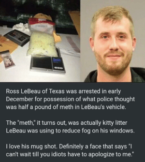 "I smell a lawsuit.: Ross LeBeau of Texas was arrested in early  December for possession of what police thought  was half a pound of meth in LeBeau's vehicle.  The ""meth,"" it turns out, was actually kitty litter  LeBeau was using to reduce fog on his windows.  I love his mug shot. Definitely a face that says ""I  can't wait till you idiots have to apologize to me."" I smell a lawsuit."