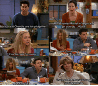 FRIENDS (TV Show): Ross married Rachel in Vegas and  got divorced.. .AGAIN  Monica and Chandler are living together  wasnt supposed to put beet  love Jacques Cousteau  hat s a lot of information toget  wanna GO  in thirty seconds FRIENDS (TV Show)