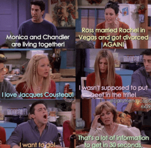 I knew I shouldn't have put beef in the trifle...: Ross married Rachel in  Vegas and got divorced  AGAINI  Monica and Chandler  are living together!  wasn't supposed to put  beef in the triflel  @dailyfriendscaps  6x09  I love Jacques Cousteaul  EX  That's a lot of information  to get in 30 seconds,  I want to gol I knew I shouldn't have put beef in the trifle...