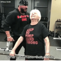 Grandma, Memes, and Wshh: @Ross Smith  EEP  Yo  IMP  AND  IRONG  What's-the-matter-Betty4% liite Grandma trains with RobertFrank! 💪😂💯 @SmoothSmith8 @RobertFrank615 WSHH