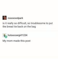 Ironic, Life, and Mom: rosswoodpark  is it really so difficult, so troublesome to put  the bread tie back on the bag  hotsoccergirl1234  My mom made this post I think I've decided on my favorites from lust for life,,,,,,,