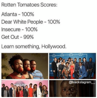 Anaconda, Memes, and White People: Rotten Tomatoes Scores:  Atlanta-100%  Dear White People-100%  Insecure-100%  Get Out-99%  Learn something, Hollywood.  @blackstagram Learn something, Hollywood! @sincerely_black_ blackexcellence blackpride blackandproud blackpower africanamerican melanin ebony panafrican blackcommunity problack brownskin unapologeticallyblack