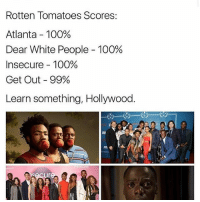 🎬🎥🍅🍅 Repost @intersectional.femme: Rotten Tomatoes Scores:  Atlanta 100%  Dear White People 100%  Insecure 100%  Get Out 99%  Learn something, Hollywood. 🎬🎥🍅🍅 Repost @intersectional.femme