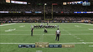 .@wil_lutz5 connects from 33 yards out and the @Saints WIN! #CARvsNO https://t.co/Cq40otSLNX: ROUSES  ron  Chevron  0:03  31  verizon  ONFL  Chevon  Cheve  Ochsner  PEOPLES HEALTH  1Mercedes-Benz  0037  Rlay  SAINTS  33-YD ATTEMPT  CAR  31  (5-5)  NO  31 4TH 0:03 17  (8-2)  3RD & 1 .@wil_lutz5 connects from 33 yards out and the @Saints WIN! #CARvsNO https://t.co/Cq40otSLNX