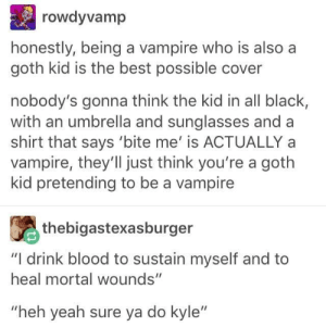 "Classic Kyle: rowdyvamp  honestly, being a vampire who is also a  goth kid is the best possible cover  nobody's gonna think the kid in all black,  with an umbrella and sunglasses and a  shirt that says 'bite me' is ACTUALLY a  vampire, they'Il just think you're a goth  kid pretending to be a vampire  thebigastexasburger  ""I drink blood to sustain myself and to  heal mortal wounds""  ""heh yeah sure ya do kyle"" Classic Kyle"