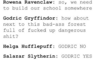 ~Dobby: Rowena Ravenclaw so, we need  to build our school somewhere  Godric Gryffindor  how about  next to this bad-ass forest  full of fucked up dangerous  shit?  Helga Hufflepuff  GODRIC NO  Salazar Slytherin  GODRIC YES ~Dobby