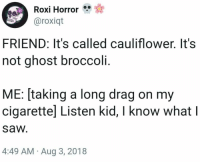 Memes IV: Roxi Horror  aroxiqt  FRIEND: It's called cauliflower. It's  not ghost broccoli.  ME: [taking a long drag on my  cigarettel Listen kid, I know what l  saw  4:49 AM Aug 3, 2018 Memes IV