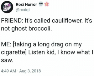 Listen Kid: Roxi Horror  aroxiqt  FRIEND: It's called cauliflower. It's  not ghost broccoli.  ME: [taking a long drag on my  cigarettel Listen kid, I know what l  saw  4:49 AM Aug 3, 2018