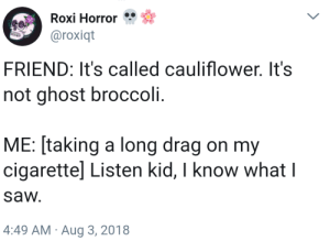 meirl by Brutal_Deluxe_IV MORE MEMES: Roxi Horror  @roxiqt  FRIEND: It's called cauliflower. It's  not ghost broccoli.  ME: [taking a long drag on my  cigarettel Listen kid, I know what l  sa И.  4:49 AM Aug 3, 2018 meirl by Brutal_Deluxe_IV MORE MEMES