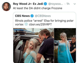 "Dank, Elsa, and Frozone: Roy Wood Jr- Ex Jedi @roywoo... 1h v  At least the DA didnt charge Frozone  CBS News@CBSNews  Ilinois police ""arrest"" Elsa for bringing polar  vortex cbsn.ws/2SfrRPT He didn't do it cause he couldn't find his super suit by PharmSystem MORE MEMES"