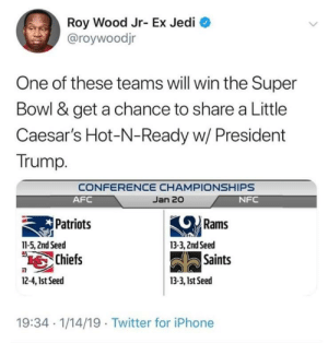 Gettin that presidential pizza😤🍕💯 by PrincessNiah MORE MEMES: Roy Wood Jr- Ex Jedi  @roywoodjr  One of these teams will win the Super  Bowl & get a chance to share a Little  Caesar's Hot-N-Ready w/ President  Trump.  CONFERENCE CHAMPIONSHIPS  Jan 20  AFC  Patriots  Chiefs  NFC  Rams  11-5, 2nd Seed  13-3, 2ndSeed  Saints  2-4,1st Seed  13-3, 1st Seed  19:34 1/14/19 Twitter for iPhone Gettin that presidential pizza😤🍕💯 by PrincessNiah MORE MEMES