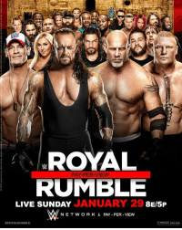 Royal Rumble Poster - WWE SDLive WWERaw RoyalRumble WWENews WrestlingNews: ROYAL  RUMBLE  JANUARY 29 8  LIVE SUNDAY  AM NET W OR K & PAY PER VIEW  ROYAL RUMBLE  WWE.COM Royal Rumble Poster - WWE SDLive WWERaw RoyalRumble WWENews WrestlingNews