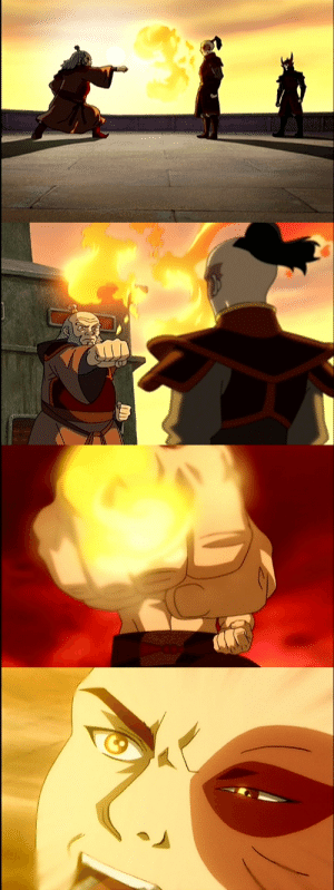 Definitely, Fire, and God: royaltealovingkookiness: deeperthanswords:  royaltealovingkookiness:   The first training of Zuko we see, Iroh shoots a fireball right into Zuko's face - while Zuko just stands there unflinching. It's the very first episode, and Zuko & Iroh are the obvious villains, and it just seems like some macho bs they do.  And then comes the duel with Zhao, and Zuko is down, but when he sees that flaming fist to his face, something lets loose inside him that helps him turn the fight around…But it's not until we learn Zuko's backstory that all this gets a whole new meaning.  Why would Zuko still be on basics if not because he suffered a huge setback after his agni kai? Imagine how much hard work, patience it was to build Zuko back up again, so he would not freeze in blind panic (or curl up in a ball) when fire gets close to his face. I think Iroh practiced this with him all the time until he could stand there unflinching (knowing that Iroh is in full control of his bending and trusting that his uncle would never hurt him). And when it came to the duel with Zhao, Zuko could react in a RL situation instead of freezing up, and turn all the negative feelings (rage, anger, pain, whatever) into fuel to win the fight against a bender who is much more skilled than he is.  And Iroh obviously drilled him with control and restraint, because no matter how much he lets his rage loose, he has enough control not to hurt Zhao and enough self-restraint not to burn him at the end. I definitely think it was a deliberate choice on Iroh's part to hold back on teaching offensive forms to Zuko beyond the basics (knowing that combining those with his unprocessed anger could result in him being out of control and hurt people). Instead, it seems he concentrated on teaching him defensive forms, fire breath, heat control, and so on…   What the FUCK iroh was the real mvp of this whole show my god  Indeed. It goes over many people's head, but he made a huge difference. It was mostly assists and defensive plays though, not the flashy stuff. I love that narrative so much, how you change the world one person at a time and not only violence and hate, but also love and kindness creates ripple effects.